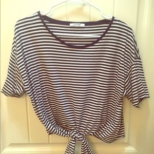 Zara blue and white striped crop
